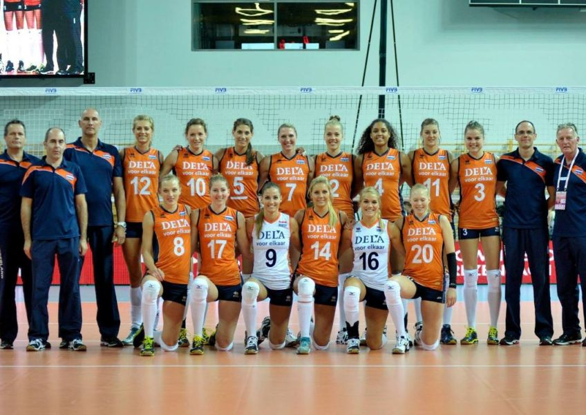 Teamfoto dames Volleybal Team in 2014